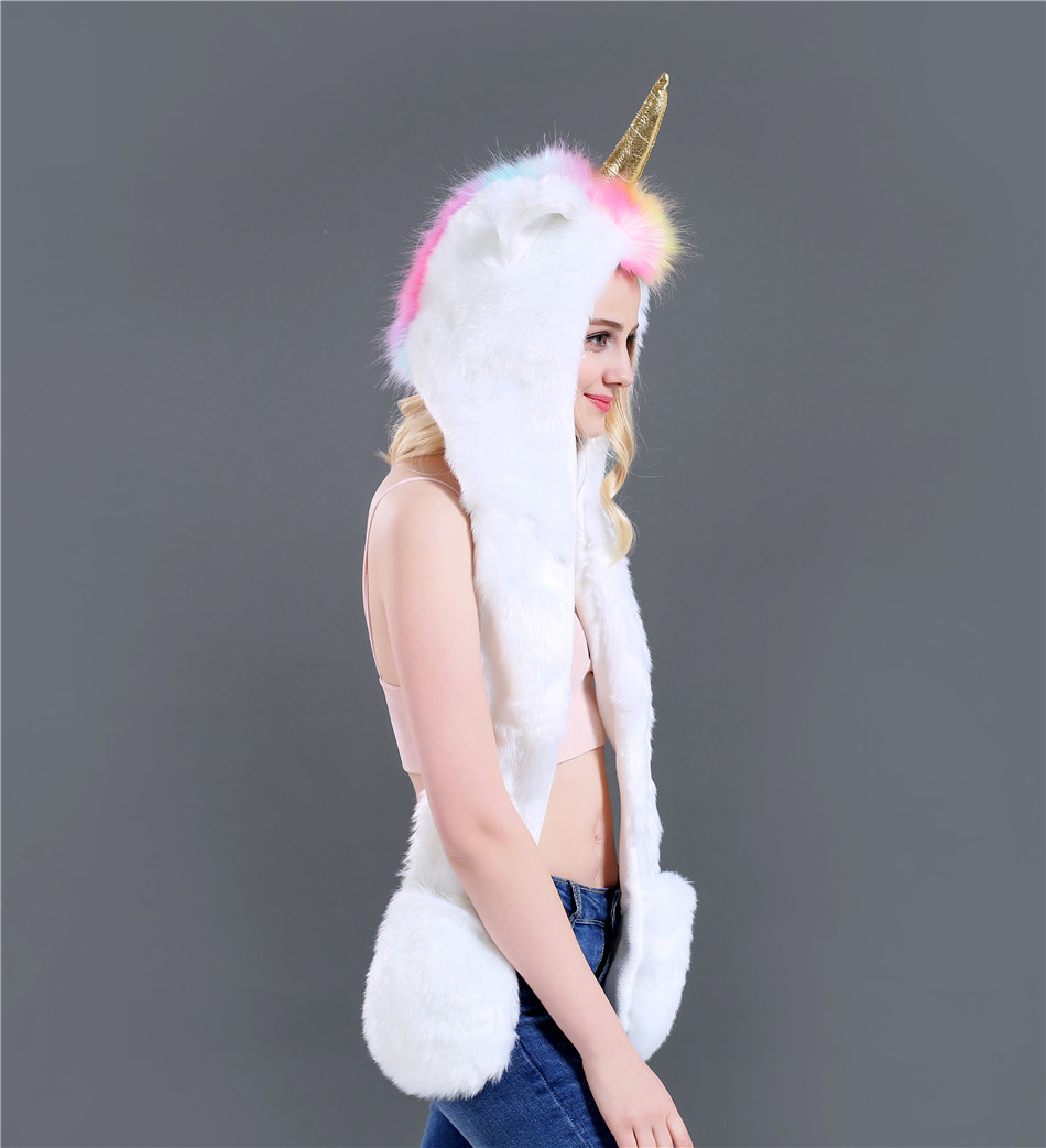 New Fashion Autumn And Winter Unicorn Three Pieces Set Faux Fur Hat Plush Cartoon Animal Hat Hat Scarf Gloves One SN51 (4)
