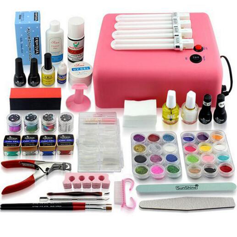 Professional nail set manicure, UV nail set with lamp, gel