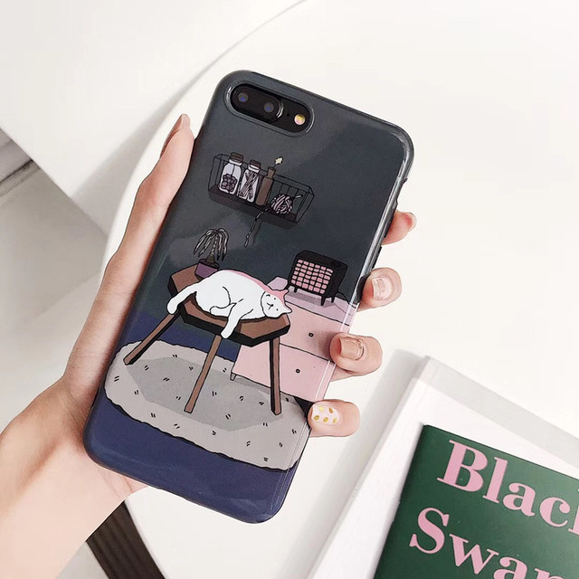 1263f90cac Japan Cute illustration cat Phone Cases For iphone X XS Max XR Case For iPhone  6