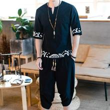 Loldeal Summer Mens Chinese Style Traditional Two-Piece T-Shirt + Shorts Linen Casual Set