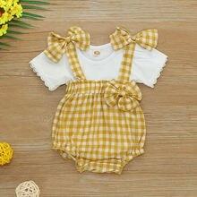 цена на US Newborn Infant Baby Girl T-shirt Tops+plaid Overall Bib Pants Clothes Outfit