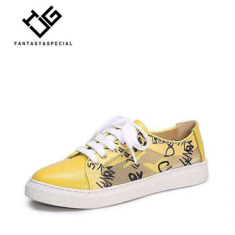 IGU chaussures plates femmes en cuir véritable 2019 plus récent été impression jaune femmes baskets chaussures de plein air chaussures décontractées plate-forme pour femmes