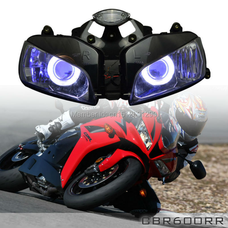 Custom Motorcycle Headlight Blue Angel Eye HID Assembly Fits For Honda CBR600RR 2003 2006 CBR600 On Aliexpress