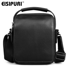 Eisipuri 2017 Сумки из кожи Для мужчин высокое качество Курьерские сумки небольшая дорожная темно-коричневый сумка через плечо для Для мужчин