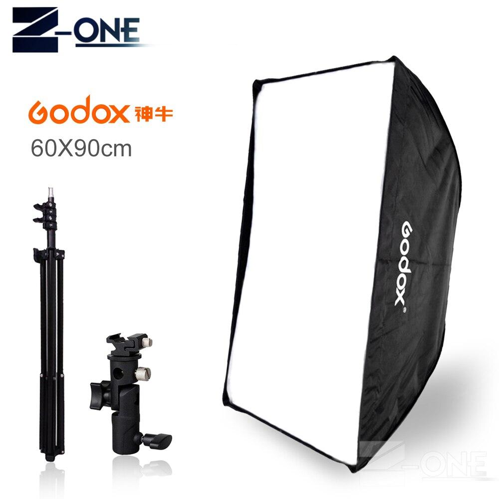 Godox 60x90cm umbrella softbox +E type hot shoe bracket+190cm light stand kit for Speedlite Flash photography