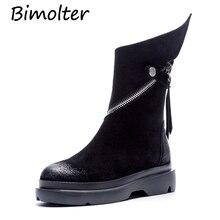 Bimolter Women Real Cow Suede Ankle Boots Flat Platform Boots Fashion Black Comfortable Zip Ladies Shoes Winter Autumn LAEB054