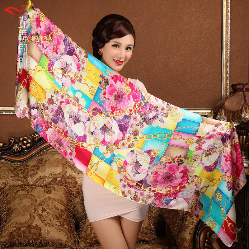 Ladies Brand Silk Shawl Scarf Printed Female Long Chain Scarves Wraps 2017 Summer Women Mulberry Silk Water Blue Scarf Cape