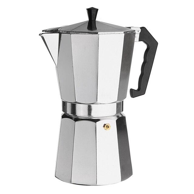600ml 12 Cup Coffee Pot Stove Percolator Maker Top Expresso Latte Aluminum Moka Octagonal