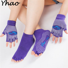 Yhao prefect  Cotton Non-slip Yoga Toe Socks&Gloves Set For Pilates and yoga 2017 Newest