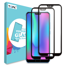 Protector de pantalla TOPK para Honor 10 vidrio templado HD claro cobertura completa película protectora para Honor 10 cristal Protector