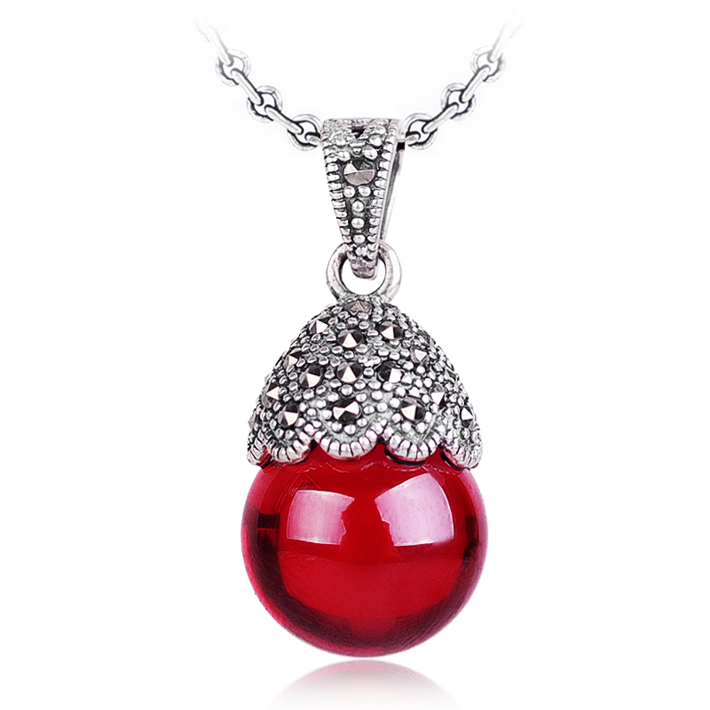 925 Sterling silver women jewelry Red Garnet round red Pendant silversmith old handmade retro female water drop girlfriend gift
