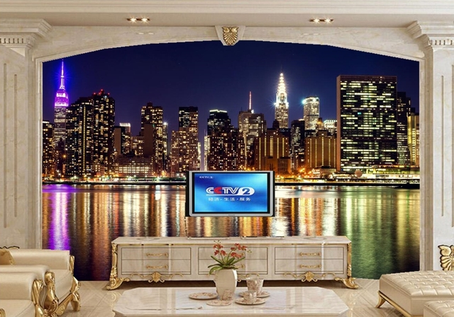 Usa huizen wolkenkrabbers rivieren new york city night behang