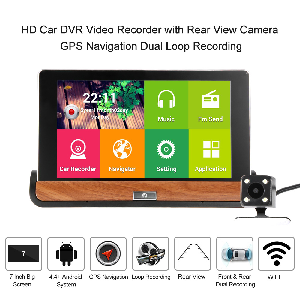Aliexpress com buy 7 inch kkmoon hd car dvr video recorder with rear view camera android smart system gps navigation dual loop recording from reliable dvr