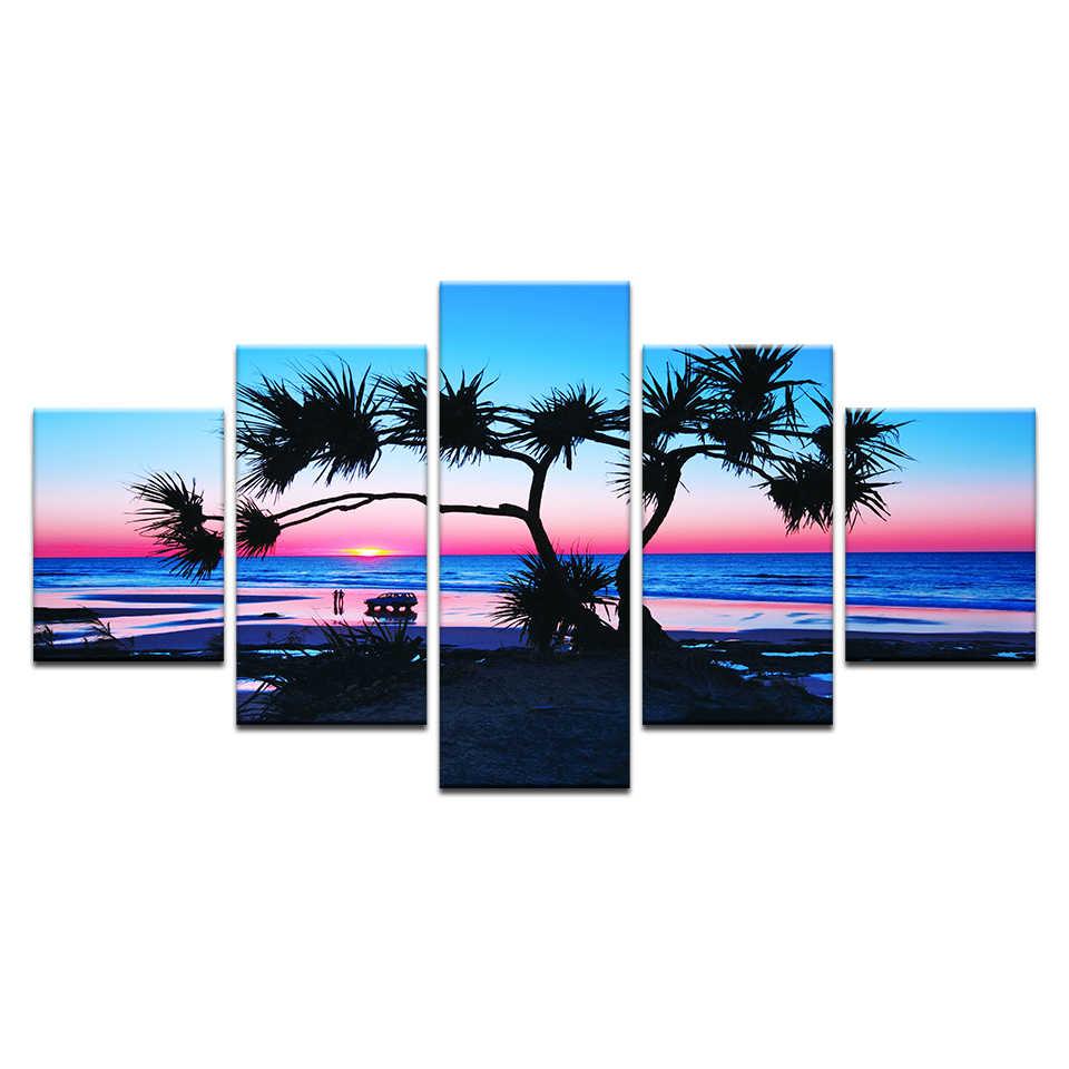 5 sztuk/zestaw krajobraz na płótnie malarstwo nowoczesne para morze plaża drzewo wschody niebieski obrazy na ścianę Giclee Living Room Decor