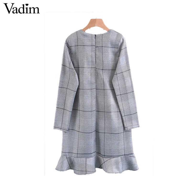 Vadim femmes pied-de-poule à carreaux robe ourlet volants manches longues femme chic automne mini robes vestidos mujer QZ3279