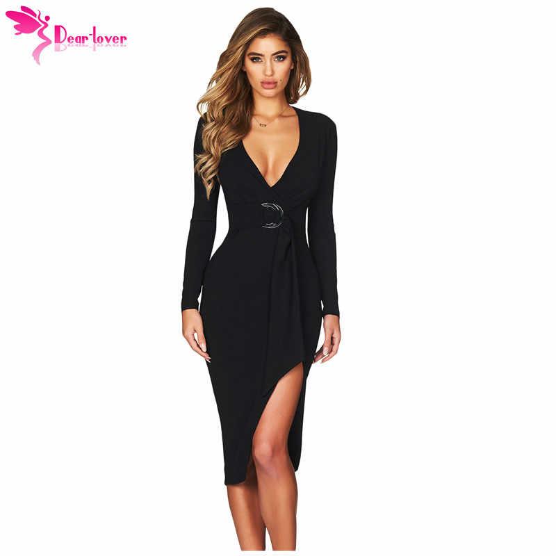 29d1356421 Dear Lover Women Autumn Dress Sexy Bodycon Party Black Faux Wrap V Neck  Long Sleeve Midi