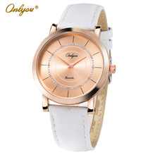 Onlyou Brand Fashion Casual Watch Women Men Genunie Leather Watch Rose Gold White Pink Black Lovers Watch For Boys Girls 8896