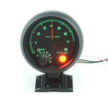 3.75 дюймов RPM гонки тахометр Черный Корпус Зеленый свет Автоматический Измерительный Прибор Автомобиля модификация Раннего Предупреждения Бесплатная доставка
