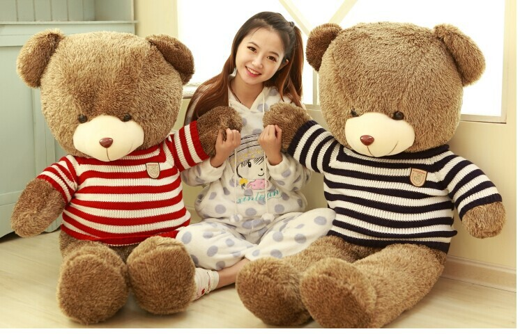 huge 120cm sweater teddy bear , brown bear plush toy ,throw pillow , birthday gift t6894 huge lovely new plush teddy bear toy stuffed light brown teddy bear with bow birthday gift about 160cm