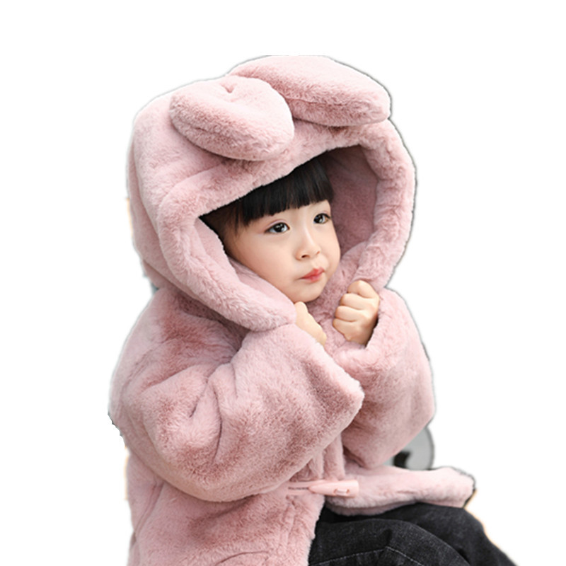 JKP 2018 new children's fashion thick jacket winter tide rabbit fur hooded warm wool sweater baby faux fur coat FPC-124 v neckline fur cuff sweater