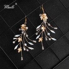 Miallo 2019 Newest Gold Color Opal Crystal Handmade Bridal Earrings Women Wedding Flowers Bride Bridesmaids