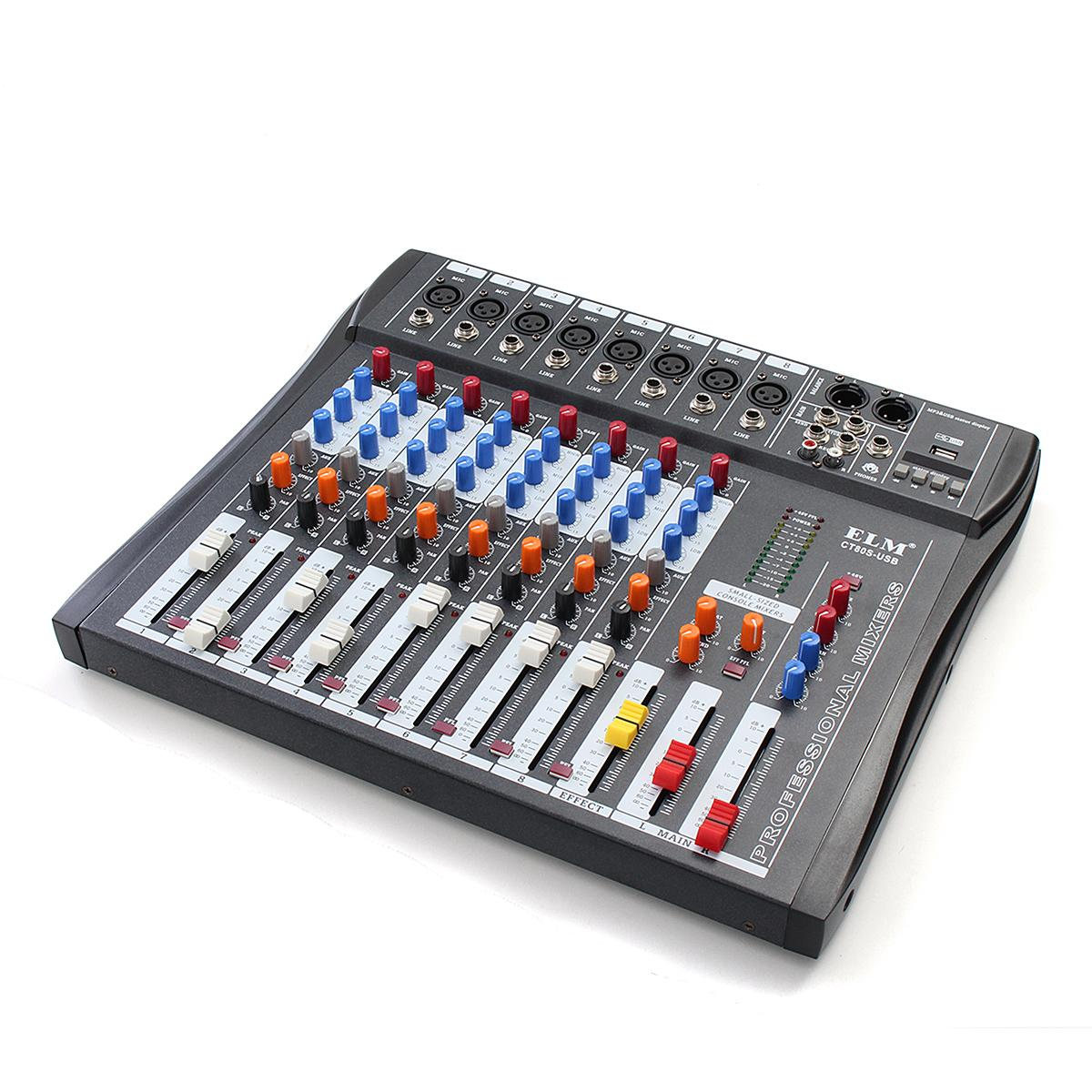 ELM 8 Channel Karaoke Audio Mixing Console For Microphone Amplifier Professional DJ Sound Mixer With 48V Phantom Power USB Jack