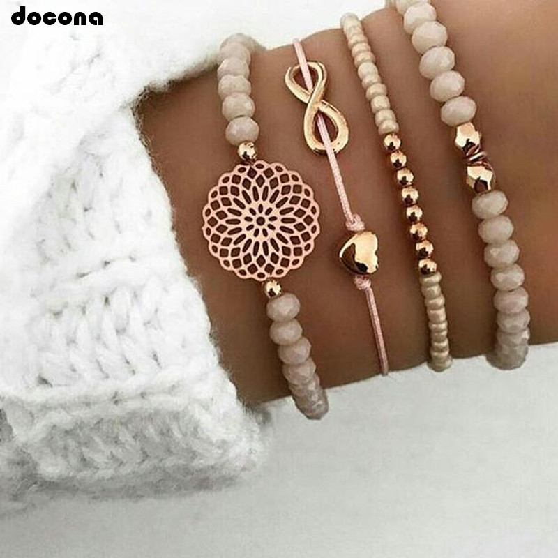 docona Boho Heart Orange Beadeds Bracelet Set for Women Flower Chains Adjustable Bracelet Bangle Jewelry Bransoletka 4019(China)