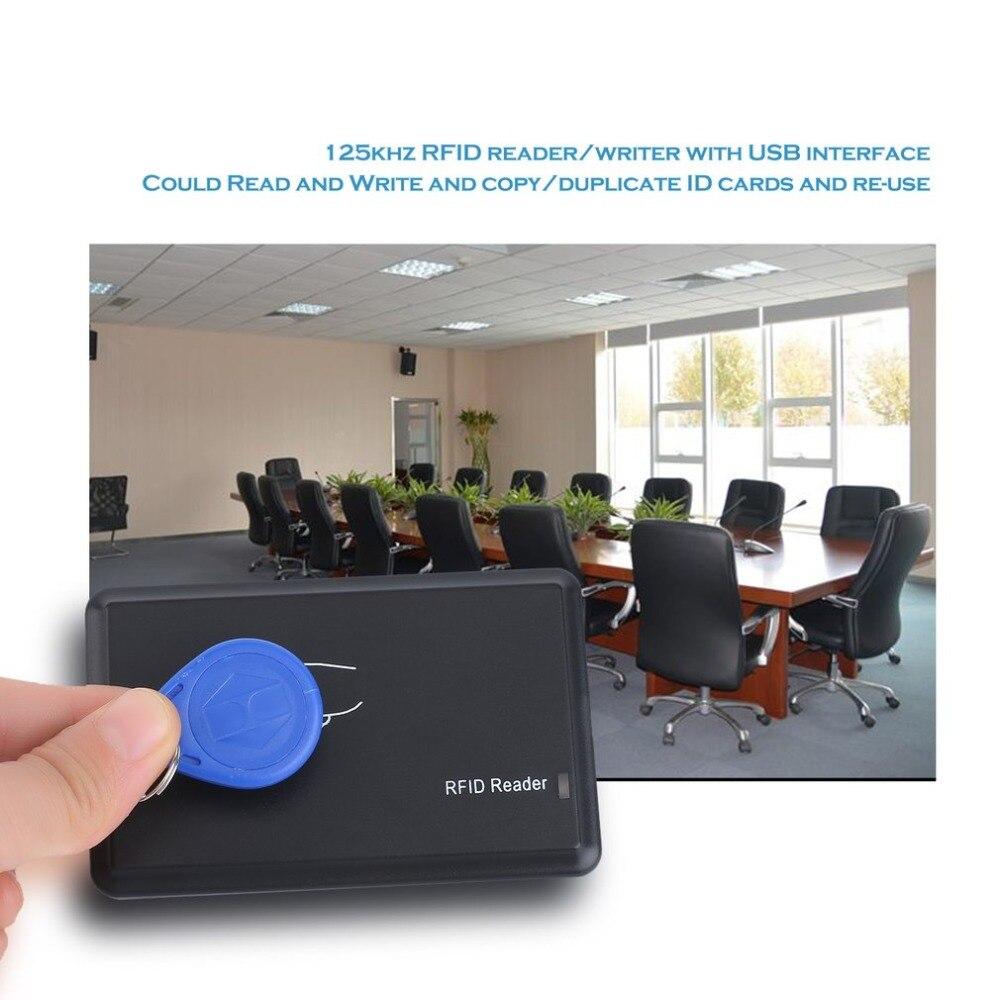 USB 125Khz RFID EM4305 T5567 Card Reader Copier Programmer Burner + 5 ID Key Buckles + 5 ID Cards id card 125khz rfid reader