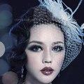 2016 Nupcial de La Boda Sombreros Y Tocados/casco/Sombrero de fiesta/ramillete Elegante Tul Con Plumas Y Perlas de Imitación blanco Velos