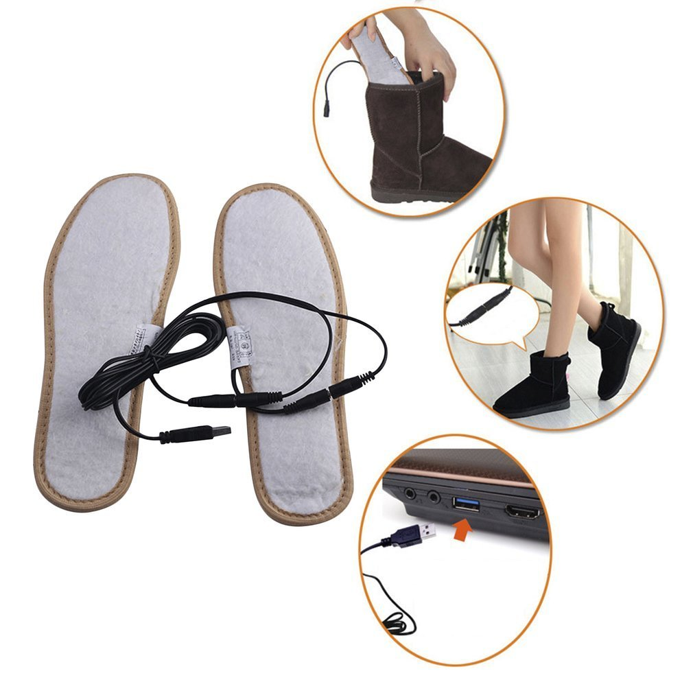 NEW Winter Warm Electrically Heated Insoles USB Charging Plush Fur Insoles Keep Warm Feet Pad For Women&Men Shoes