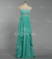 E1533 Vintage Turquoise Crystal Bead Chiffon Long Maxi Formal Evening Dresses Custom