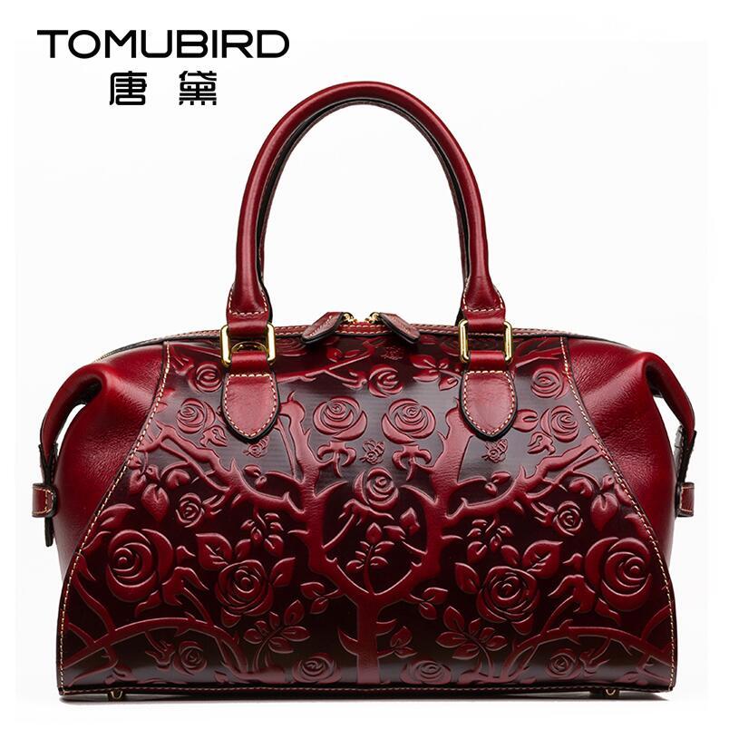 2017 New women bag genuine leather brands quality cowhide embossing boston bag fashion retro women handbags shoulder bag