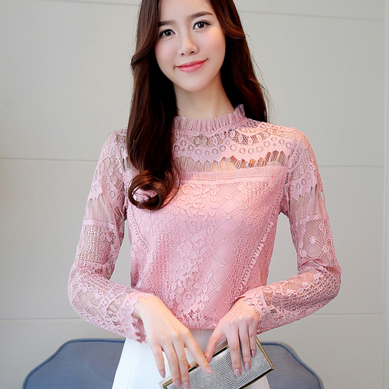 High qualify Spring lace women blouse hollow out long sleeve chemise femme plus size lace chiffon shirts 170H
