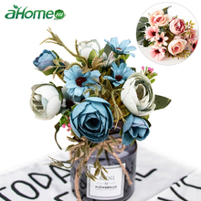 Silk Peony Artificial Flowers Bouquet Tea Rose Wedding Home Decoration Flower Fake Pearl