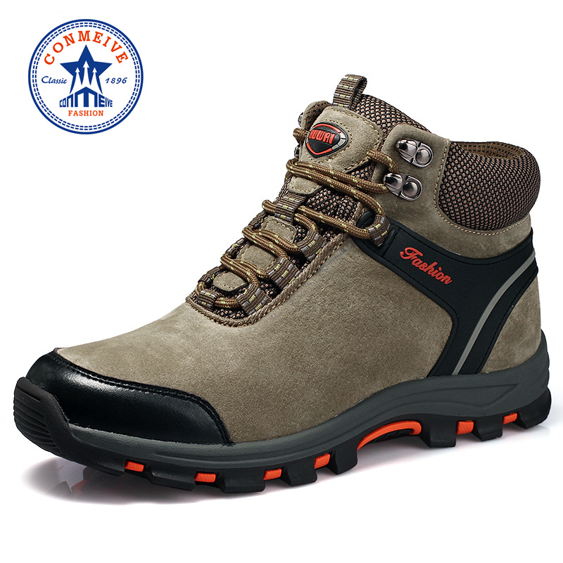 New Arrival Winter Hiking Shoes Genuine Leather Outdoor Boots Trekking Lace-up Climbing Mens Hunting Sneakers Men Male Walking yin qi shi man winter outdoor shoes hiking camping trip high top hiking boots cow leather durable female plush warm outdoor boot