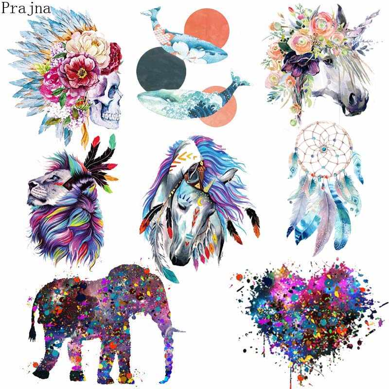 Prajna Parches Heat Transfer Vinyl Patch Sticker Iron On Transfer For Clothes Fabric Elephant Patch Lion Tiger Applique Badge