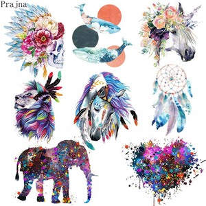 Prajna Parches Heat Transfer Vinyl Patch Sticker Iron On Transfer For Clothes Fabric Elephant Patch Lion Tiger Applique Badge(China)