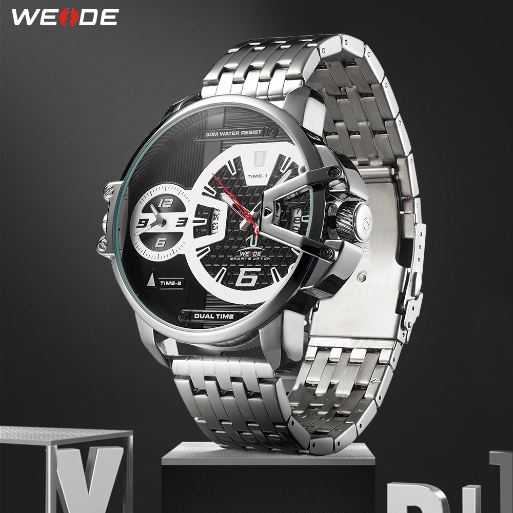 WEIDE Men Sports Military Stainless Steel Strap Auto Date Quartz Movement Analog Male Clock Hours Wrist Watch Relogio Masculino