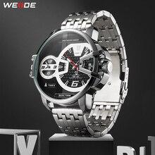WEIDE mężczyźni sport wojskowy pasek ze stali nierdzewnej Auto data mechanizm kwarcowy analogowy mężczyzna zegar godziny Wrist Watch Relogio Masculino