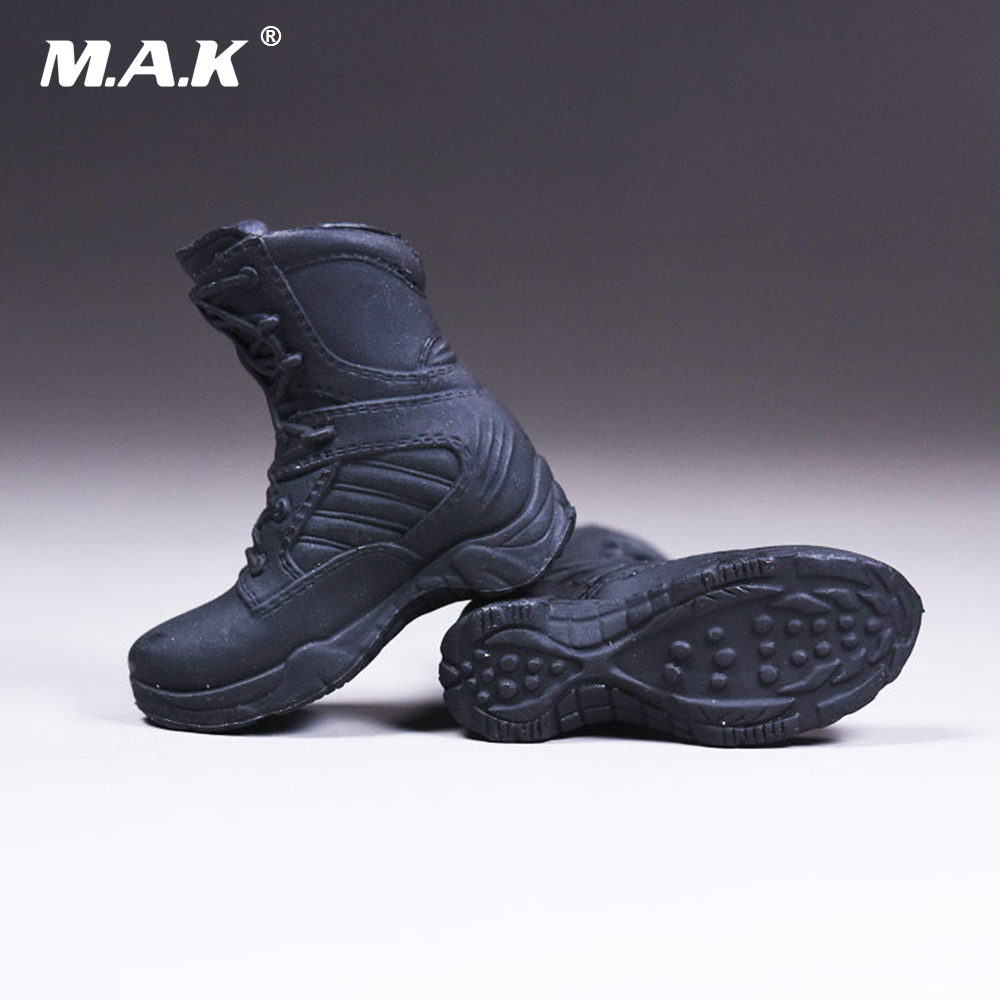 1/6 Female Shoes Policewoman Combat Boots With Feet   Inside For 12'' Action Figure