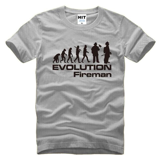 3a4641bf7 Evolution Of A Fireman Firefighter T Shirts Men Summer Short Sleeve O-neck  Cotton Funny Evolution T-Shirt Tee Tops