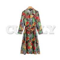 CUERLY women vintage animal print midi dress bow tie sashes long sleeve split side button female casual dresses vestidos