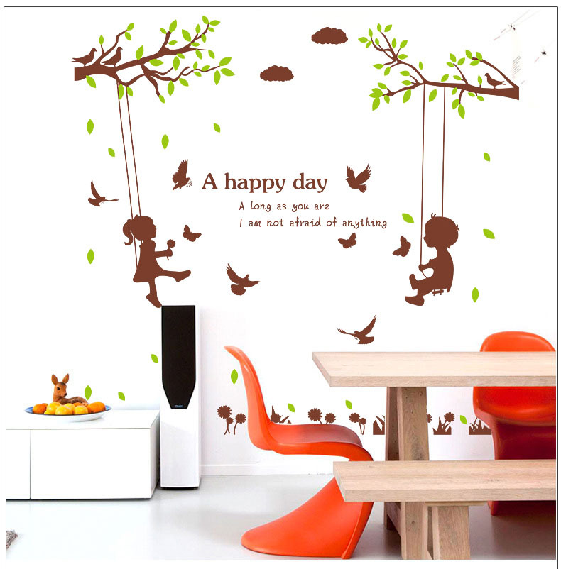 Boys Girls On The Tree Swing Wall Stickers For Bedroom Kids