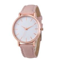 Náramkové hodinky bez čísel s koženým náramkem