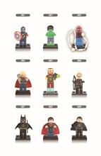 XINH 001-009 Super Heroes Minifigure Captain America Batman Thor Ironman Super Man Building Blocks Sets Model Bricks Toys