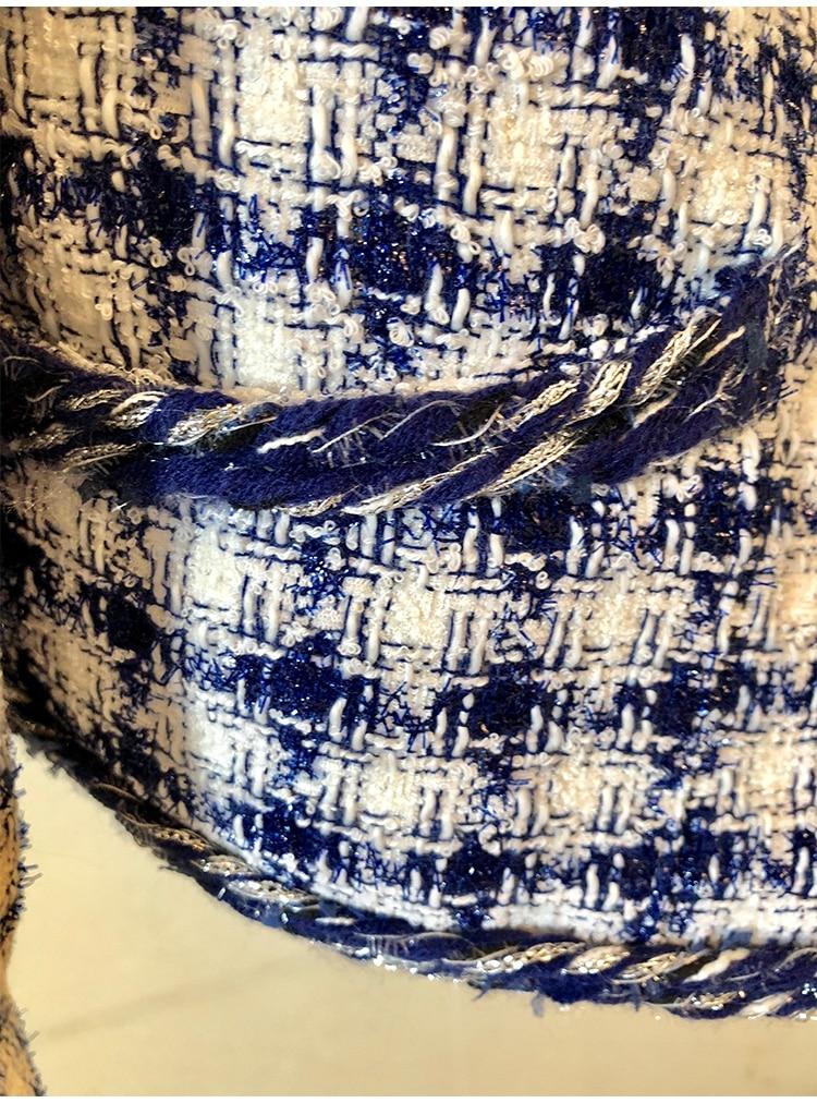 Hiver Mince Noir 2018 Gland V À marine Automne Veste Unique Longues Manteau Survêtement Cou Seiwnibu Manches Plaid Femmes Bleu Casual Poitrine Piste Tweed Ra4xf0