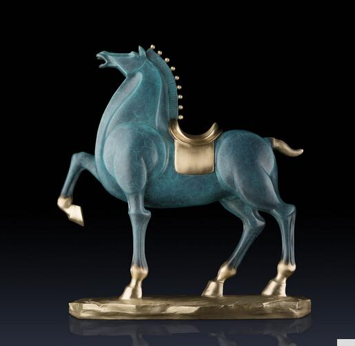 collecting OLD copper crafts Brass Mighty General Horse Statue Home Decoration Brass Copper Horse Furnishing Articles Business