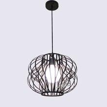 Современные лампы ресторан прихожей лестницы из кованого железа птичья клетка люстра с белым черный витрина магазина украшения идеи