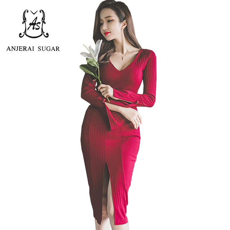 Autumn winter women knit dress long sleeve wine red sexy V-Neck slit to the thigh package hip vestidos bandage sweater dresses