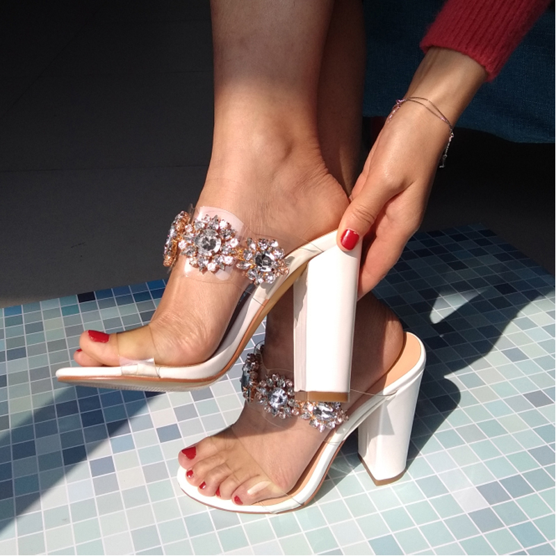 onlymaker Womens Clear Rhinestone Studded High Heel Mules Open Toe Double Straps Slip on Chunky Heeled 10CM  Sandals Plus US15onlymaker Womens Clear Rhinestone Studded High Heel Mules Open Toe Double Straps Slip on Chunky Heeled 10CM  Sandals Plus US15